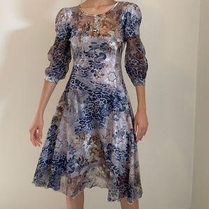 Komarov midi dress with lace detailing